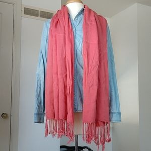 Salmon/Pink Fringe Silky Soft Scarf